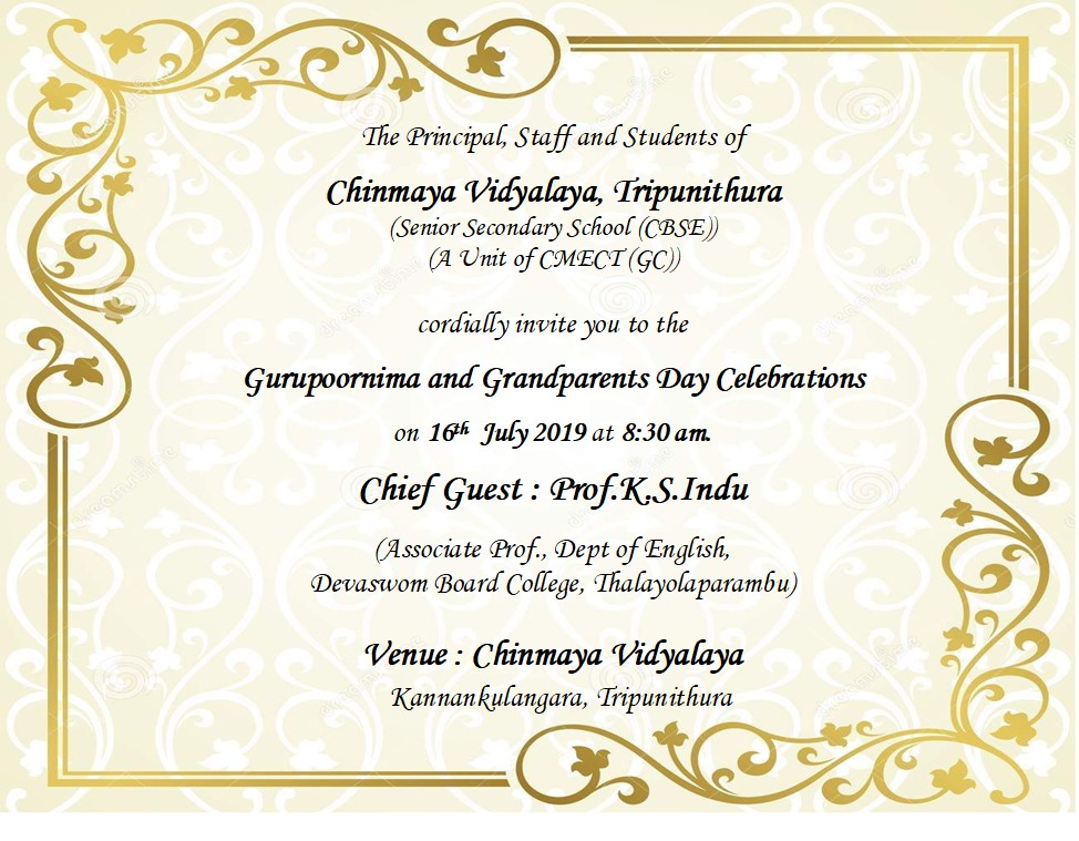 Gurupoornima & Grandparents day celebrations Invitation